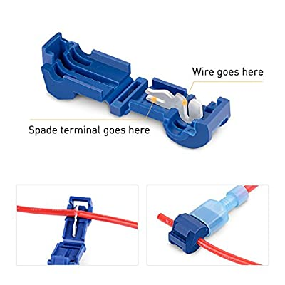 Nilight 120 Pcs/60 Pairs Quick Splice Wire Terminals T-Tap Self-stripping with Nylon Fully Insulated Male Quick Disconnects Kit, 2 Years Warranty: Automotive