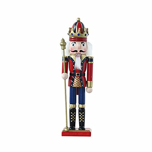 O-Toys Wooden Nutcracker Ornaments Christmas Decoration Figures Puppet Toys Home Decor (12 Inch, Scepter)