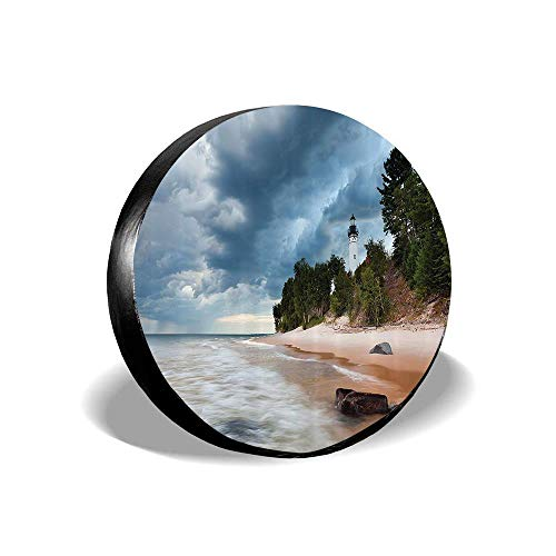 - Jackie Prout ss Au Sable Lighthouse in Pictured Rock National Lakeshore Michigan USA Picture Tire Cover Spare Wheel Cover Fit Jeep Camper RV SUV Truck 14 15 16 17 inch