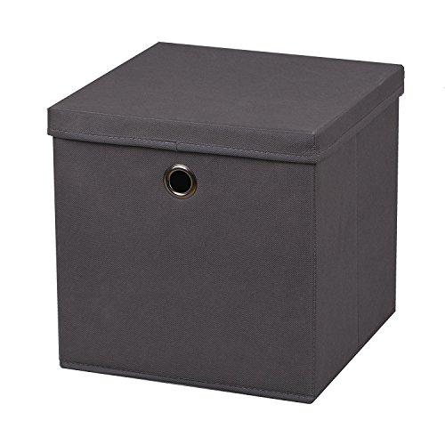 3 Stück Faltbox Dunkelgrau 28 x 28 x 28 cm Aufbewahrungsbox faltbar mit Deckel