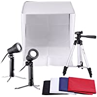 Neewer Table Top Square Photography Studio Tent Lighting Kit: 16x16/40x40cm Square Light Folding Tent+Colored Internal Backgrounds+Accent Light Studio Continuous Lamps+Adjustable 17/43cm Stand