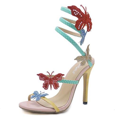 Verano Mariposa Zapatos White Sandalias Correa De Vestir Linyi Womens Tobillera PwqWt8