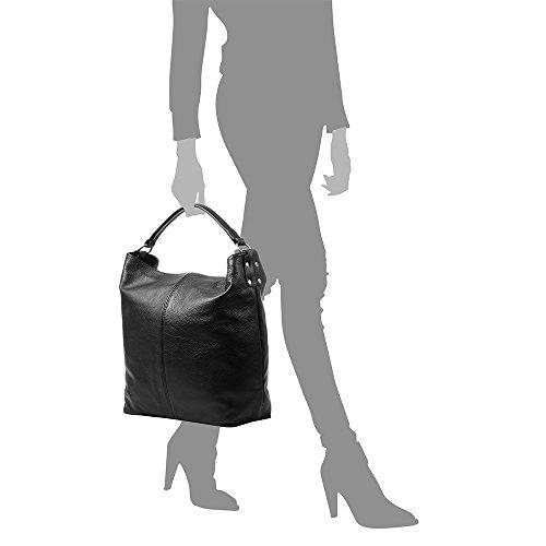 Genuino Piel Shopper Firenze bolso Hombro Black Artegiani Suave Made tacto Color Bolso Cuero bolso Mujer Brown De Pelle Cm In 35x40x16 Dollaro Auténtica Vera Italy Italiana Mujer wpq8pA