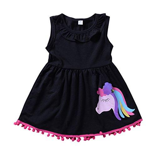 Baby Toddler Girl Pony Sleeveless Ruffle Shirt Dress Tops with Pompom Tassels -