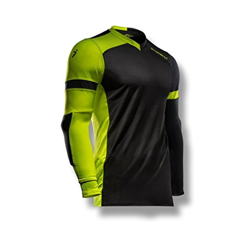 Soccer Goalkeeper Equipment - Storelli ExoShield Gladiator Goalkeeper Jersey |Soccer Equipment Protection For Turf Burn  |Anti-Bacterial|Sweat-Wicking With Elbows Pads|Black/Strike