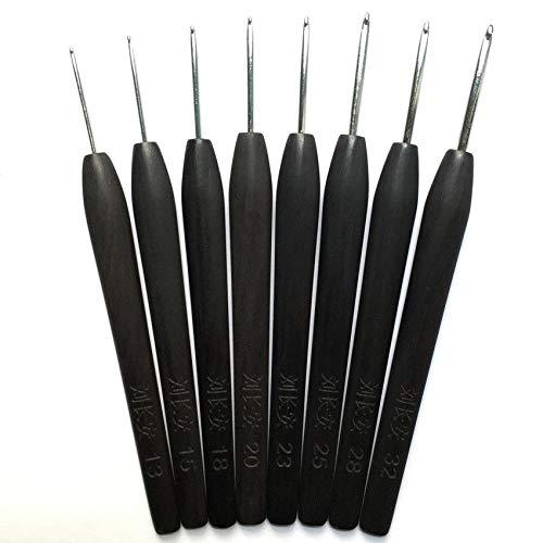 FidgetFidget 上海钩针刘长安黑檀红木手工 Handmade Crochet Hooks Stainless Steel Needle Wood Wooden Handle 22pcs Set by FidgetFidget (Image #2)