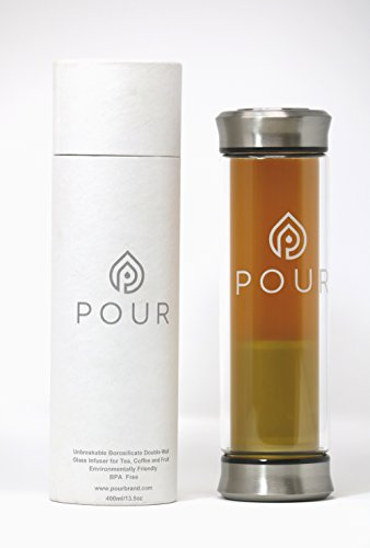 Pour Double Wall Insulated Borosilicate Glass Tea Infuser Bottle With Leakproof Stainless Steel Lids & Sleeve | Fine Steeping | For Loose Tea, Fruit Water, Coffee Brewing & (Porcelain Double Wall Cooler)