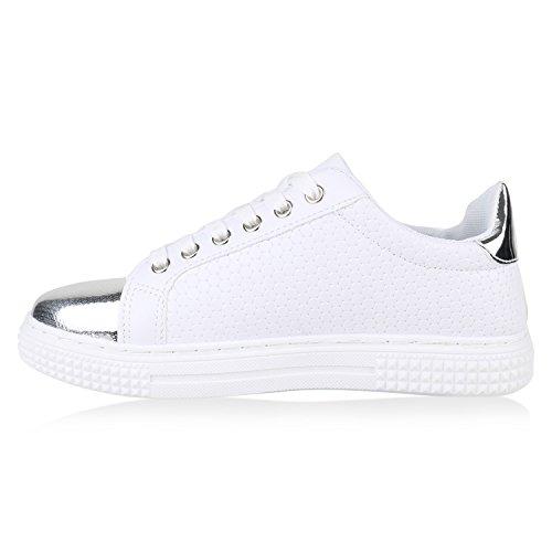 dda6b8beb631 ... Weiss Turnschuhe Schuhe Schnürer Lack Sneaker Flandell Stiefelparadies  Lack Sneakers Gesteppte Freizeitschuhe Low Damen Flats Glitzer ...