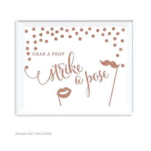 Andaz Press Wedding Party Signs, Rose Gold Faux Glitter, 8.5x11-inch, Grab a Prop & Strike a Pose Photobooth Sign, 1-Pack, Champagne Copper Colored Party Supplies Decorations ()