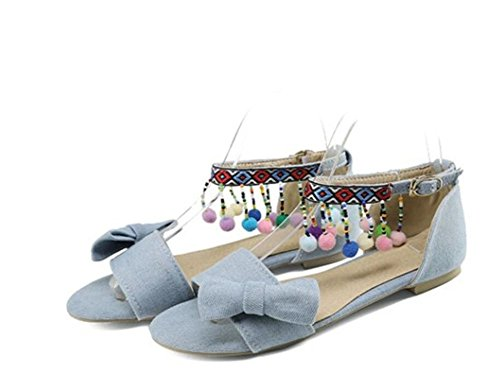 WEIQI-Sandalias/Denim/Ethnic Style/Butterfly Knot/Color Beads, Zapatos Planos Confort, 1cm, 32-43 Azul