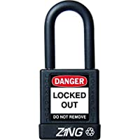 ZING 7037 RecycLock Safety Padlock, Keyed Alike, 1-1/2 Shackle, 1-3/4 Body, Black by Zing Green Products