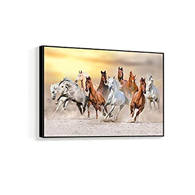 Running the Open Range - Framed Canvas