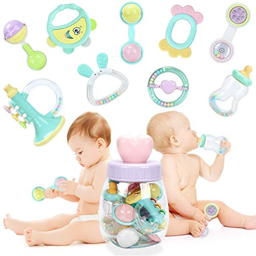 Forstart 9pcs Baby Rattles Teether, Shaker, Grab and Spin Rattle, Musical Toy Set, Early Educational Toys for 3, 6, 9, 12 Month Baby Infant, Newborn -