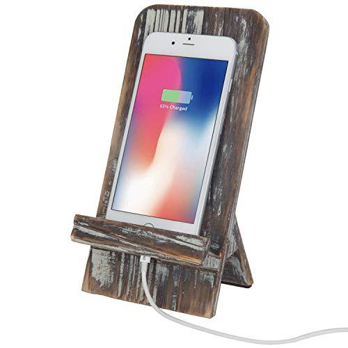 - MyGift Rustic Barnwood Universal Smartphone Dock Charging Stand, Desktop Cell Phone Cradle, Brown