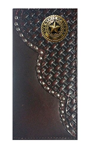 MADE THE Cherry Basket Wallet Long Leather Checkbook IN Proudly Seal Weave Texas USA Custom Gold Black wAXx6qSS7