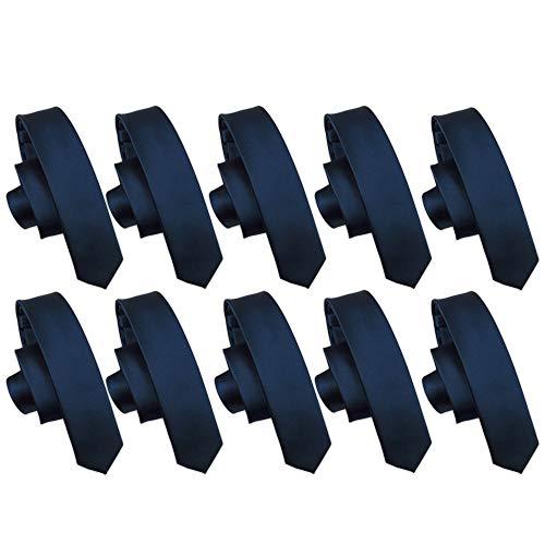Ties for Wedding Groomsmen Pack - Set of 10 Groomsmen Ties for Men, Dark Navy Blue Skinny Neck Ties, 2.5 Inch, Bulk (Groomsmen Gifts for Wedding, Outfit Accessories)