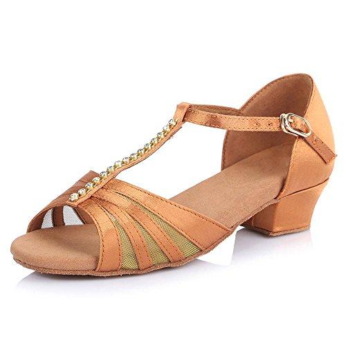 enfants chaussures enfants les talons YFF de pour Bal femmes bas filles Tango danse brown mesdames latine danse qxHOBwTx