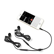 Dual Lavalier Mics-MAONO AU404 Lapel Clip-on Mini Omnidirectional Vocal Condenser Interview Microphones for DSLR Camera, Smartphone, Computer, Tablet, Wireless Transmitter, Voice Amplifier