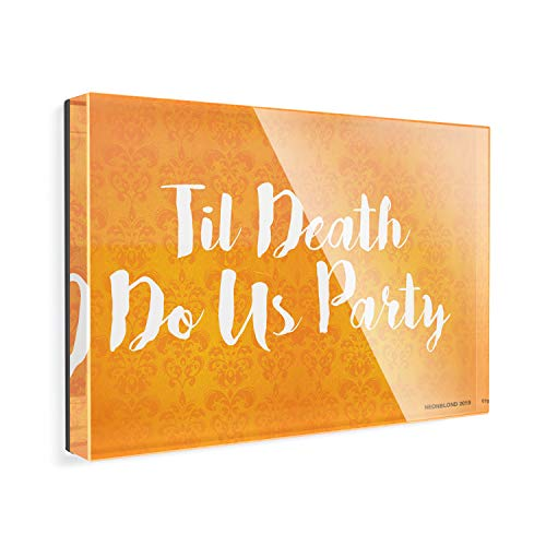 Acrylic Fridge Magnet Til Death Do Us Party Halloween Orange Wallpaper -