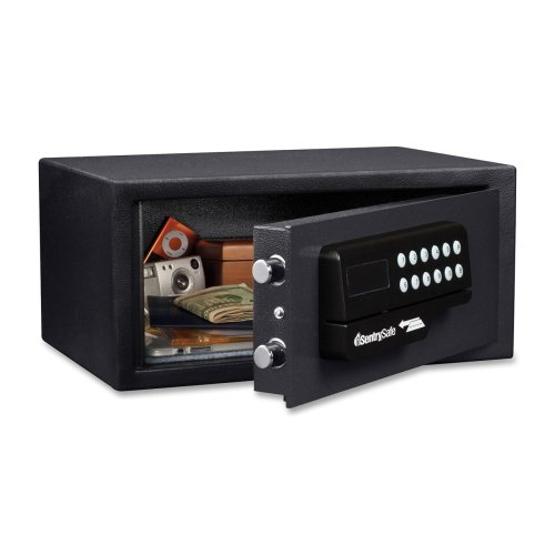 Sentry Safe Hotel Security Safe - 0.40 ftsup3; - Electronic, Key, Card Swipe Reader Lock - 2 x Live-locking Bolt(s) - 7quot; x 15quot; x 11quot; - Black