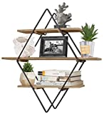 RiteSune Hanging Diamond Floating Shelves for Wall, Wall Storage Shelves for Bedroom Living Room Bathroom Kitchen Office, 24 inches