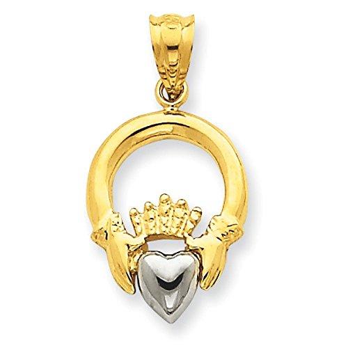 14 carats-Bicolore-Pendentif Claddagh-Dimensions :  25 x 13 mm-JewelryWeb