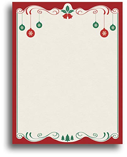 Red & Green Christmas Bulbs Holiday Stationery Paper - 80 Sheets (Best Printer For Desktop Publishing)