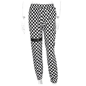 WBWANY A Cuadros a Cuadros Harem Moda Pantalones Mujeres Tablero ...