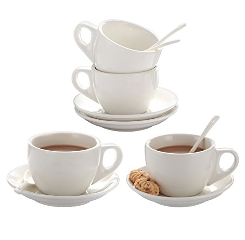 Saucers Oven Safe Cups (8 Ounce Porcelain Tea Cup and Saucer Set of 4 for Hot chocolate,Cafe, Cappuccino White with Porcelain Spoon Thick and Durable Handled Cup)