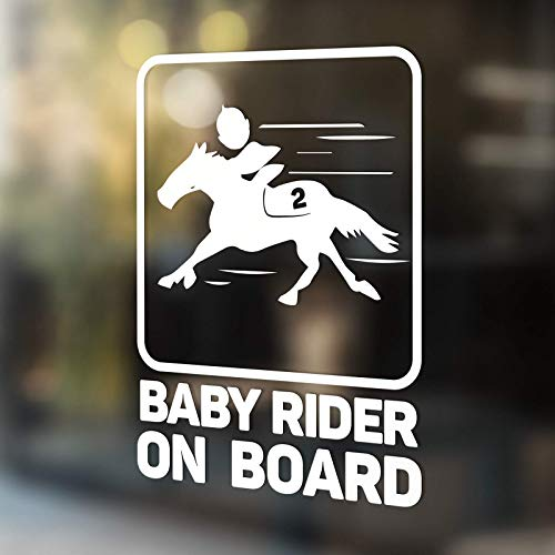 (Babycalla Baby on Board Signs for Car Windows Sticker White Vinyl Boy and Girl (Horse Racer))