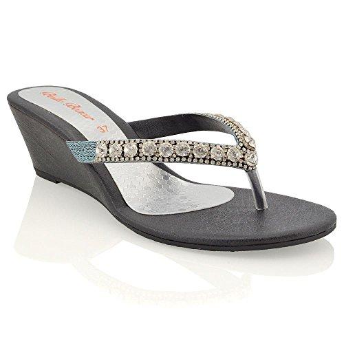 ESSEX GLAM Damen Silber Keilabsatz Zehentrenne Thong Sandalen mit gehäuften Schmucksteinen EU 40 a8wLUR85c