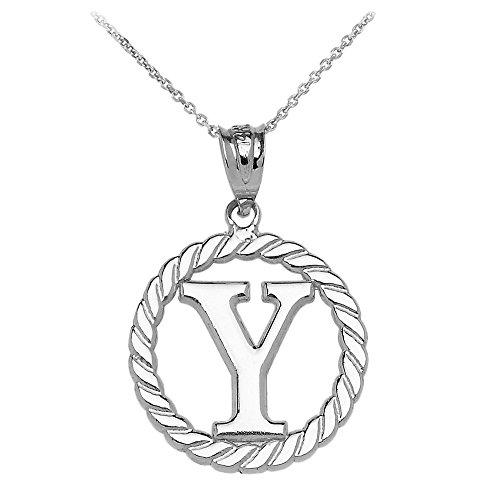 """Collier Femme Pendentif 14 Ct Or Blanc """"Y"""" Initiale À Corde Cercle (Livré avec une 45cm Chaîne)"""