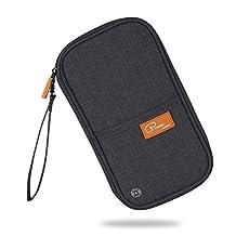 RFID Blocking Travel Passport Wallet Family Passport Holder Document Organizer Waterproof Ticket Holder Journey Case(Black)