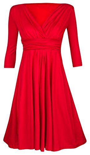 Zeta Ville - Jersey Vestido Fruncido Parte Delantera Cruzada - Para Mujer 401z Rojo