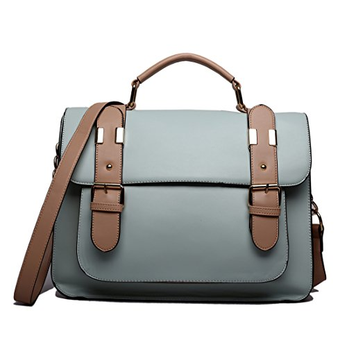 Miss Lulu marca Vintage funda lunares piel sintética bolsa de trabajo maletín Satchel Mochila Escolar (Gris) 1521 Blue