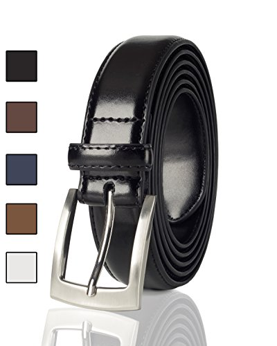 Sportoli Mens Classic Stitched Genuine Leather Uniform Belt - Black (60) from Sportoli