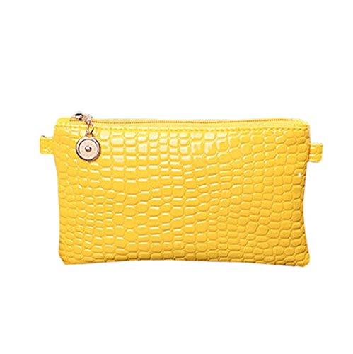 Yellow Wallet Leather Handbag Bags Bag Women Print Croco Messenger Skin Crossbody Evening Shoulder Black PU Clutch x44Uw8ZP