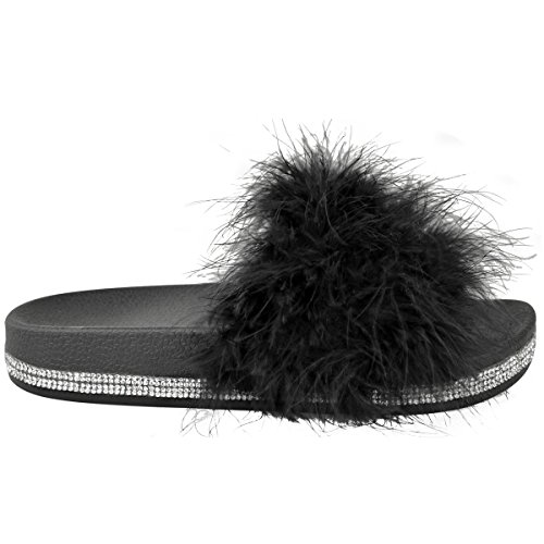 Fashion Claquettes Fausse Femme Fourrure Thirsty Noire Fourrure à Claquettes Strass Été FqTFZw6Uxn