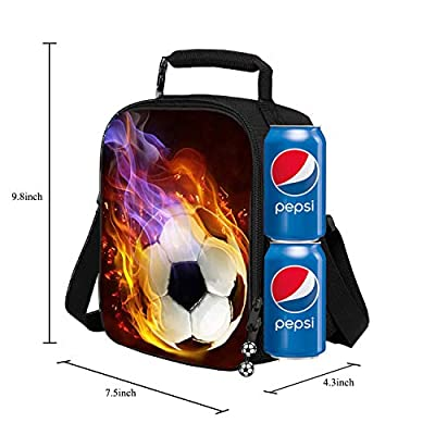 Lunch Tote, 2020 Upgrade Insulated Football Lunch Bag- Waterproof Reusable Lunch Box Portable Meal Bag Ice Pack for Kids Boys Girls: Kitchen & Dining