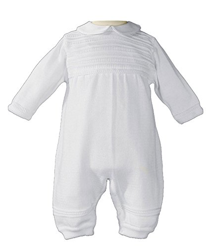Boys Cotton Knit Christening Outfit Christening Baptism Romper 6M by Little Things Mean A Lot