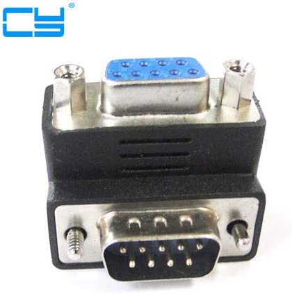 Computer Cables D-Sub Connector Socket DB 9PIN Male to DB 9pin Female Right Angled 90 Degree Adapter 2pcies//lot Cable Length: Other