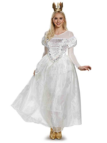 Disney Women's Alice Queen Deluxe Costume, White, Large -