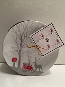 222 Fifth Set 4 Red Sleigh Christmas Appetizer Plates Reindeer Postal Mail by 222 Fifth Red Sleigh
