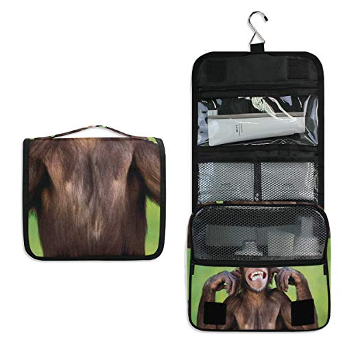 - Toiletry Bag Teeth Monkey Hanging Travel Toiletry Organizer Kit with Hook and Handle Waterproof Makeup Cosmetic Bag for Men or Women