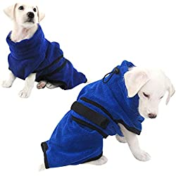 SUNFURA Dog Cat Bathrobe with Adjustable Sticker, Ultra Soft and Comfortable Turtleneck Pet Bath Towel, Quickly Water-Absorbent and Fast Dry Microfiber Shower Clothing for Doggie and Cat(S)