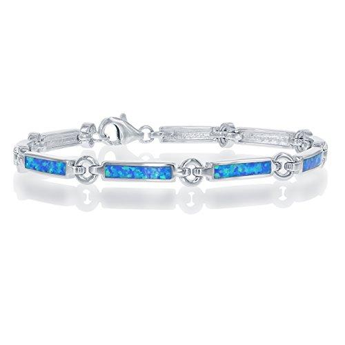 Blue Created Opal Inlay Bracelet - Beaux Bijoux Sterling Silver 7