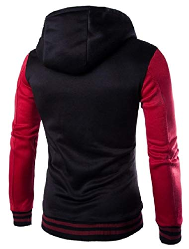 Color Contrast Men Hooded Jacket Quilted Coat Up Button Leisure Howme Jacket Wine Red w1x8dqE51
