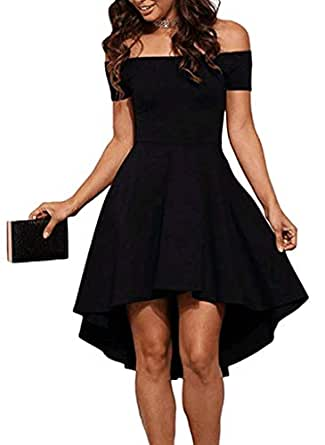 Sidefeel Women Off Shoulder Short Sleeve High Low Skater Dress Small Black