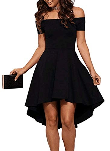 Sidefeel Women Off Shoulder Short Sleeve High Low Skater Dress Large Black