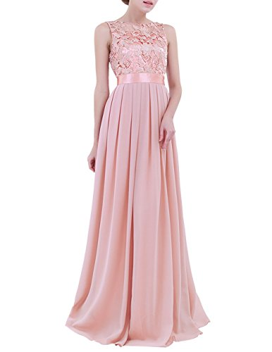Women Lace Waisted Full Bridesmaid Party Dress Pink - 6